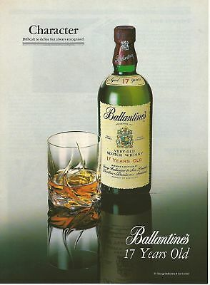 BALLANTINE'S 17 years Old- CHARACTER- Scotch Whisky 1989 Vintage Print Ad # 52 5