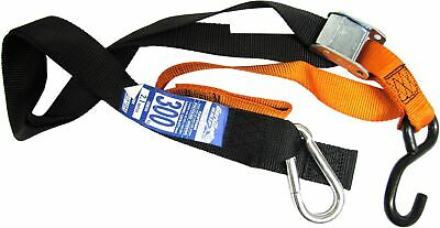 Tie Downs 38mm wide Orange/Black with hook & snap hook (Pair)