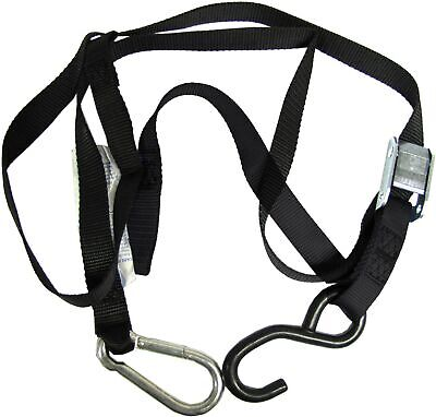 Tie Downs 25mm wide Black with hook & snap hook (Pair)