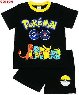 New Size 6-12 Kids Pyjamas Summer Pokemon Go Pikachu Boys Pj Pjs Tshirt Tee