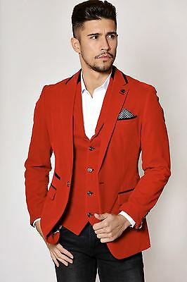 Mens Marc Darcy Designer Red Velvet Blazer Evening Party Smoking Jacket