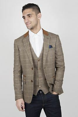 Mens Marc Darcy Designer Tan Brown Tweed Check Blazer Country Wedding Jacket