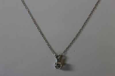 14k White Gold .25 ctw Solitaire Diamond Pendant Necklace 18 inches  - NEW