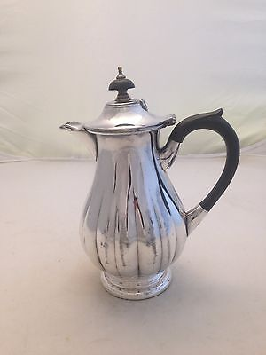 Silverplate Fluted Coffee Pot Syrup Pitcher Jug Ebony Finial & Handle