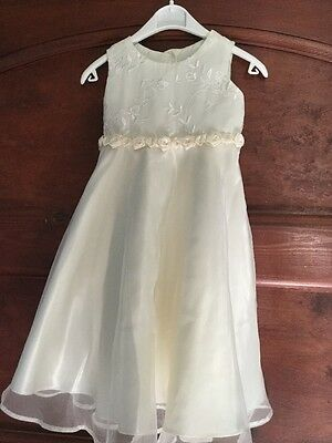 Cream Toddlers Next Dress With Rose Detail/age 12-18M/good Used Condition
