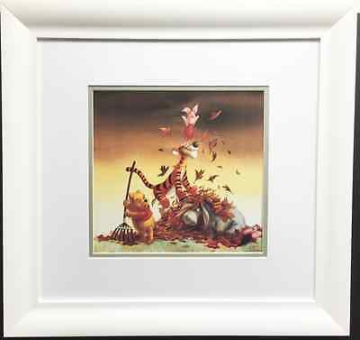 Disney WINNIE THE POOH IN FALL Lithograph CUSTOM FRAMED Art print - childrens