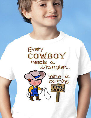 """BABY ANNOUNCEMENT Tee Big BROTHER """"Cowboy, Wrangler"""" T-Shirt Family Surprise"""