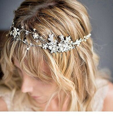 Bridal Hair Jewelry Flower Ribbon With Pearls and Crystals Wedding Accessory