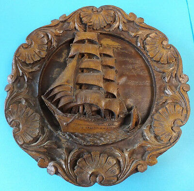 Carved Wooden / Resin Wall Hamging Plate Plaque Ship Ocean Scene