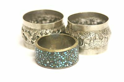 Lot of 3 Antique Ornate Silver Silverplate Brass & Turquoise Napkin Rings