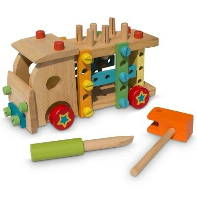Wooden Truck with Building Tools Toy Set