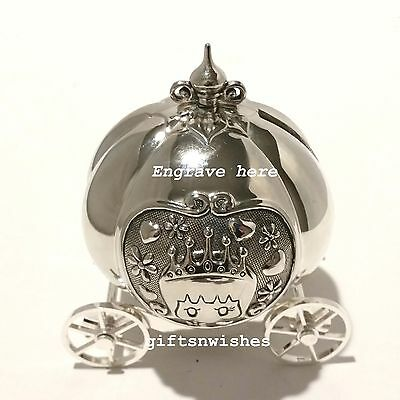 ADORABLE Silver Plated Cinderella/Pumpkin Money Box Baby Shower Christening