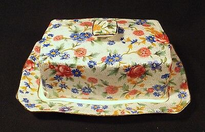 1930's Vintage Royal Winton Chintz Old Cottage Rose Chintz Cheese Butter Cover.