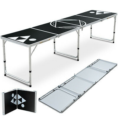 Portable Beer Pong Table Folding Aluminum Adjustable Indoor Outdoor Party Games