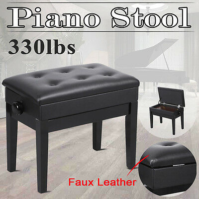 Black PU Leather Storage Adjustable Height Padded Seat Keyboard Piano Bench