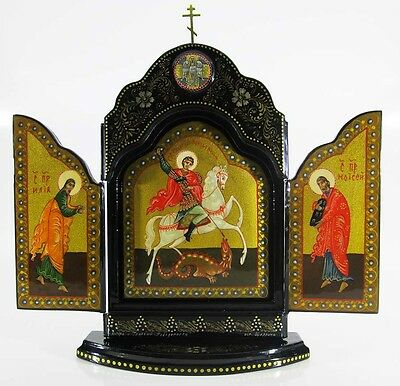 Triptych Saint George the Victorious Russian Orthodox Hand painted Lacquer #6-8