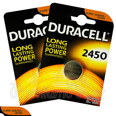2 x Duracell Lithium CR2450 3V Coin Cell batteries DL2450 ERC2450 EXP:2025