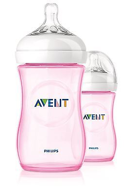 2 x Philips AVENT Natural Feeding Bottle Baby Milk Bottles 260ml/9oz Pink NEW