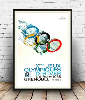 1968 winter olympics , Vintage advertising Reproduction poster, Wall art.