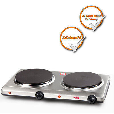 Stainless steel Double Hob 2 Plates Cooktop electric mobile Hotplate NEW