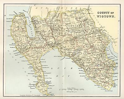 Antique Engraved Colour Map, Scotland,wigtown,county Of Wigtown 1890
