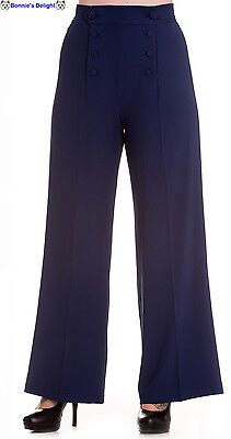 New Hell Bunny Blue 1940S 1950S Rockabilly Flared Retro Vintage Pants Trousers