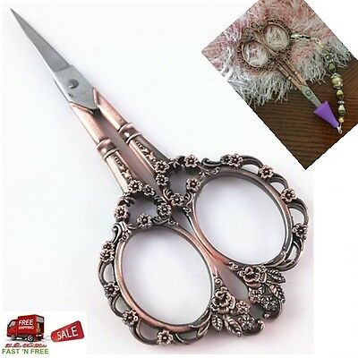 Antique Copper Vintage Scissors European Plum Blossom Needlework Women Sewing US