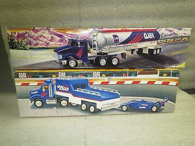 Clark oil 1995 Tanker Truck and 1996 Race Car Carrier NIB-No 1 and No. 2