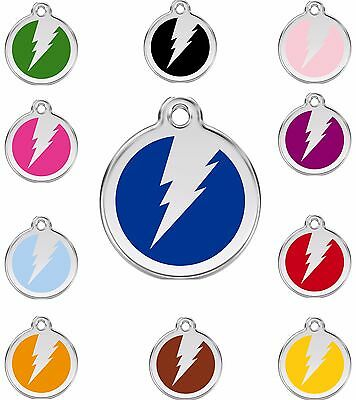 Lightning Bolt / Flash Engraved Dog Identity ID Tags / Discs by Red Dingo (1ZF)