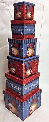 Snowman Winter Wishes Nesting Boxes Set of 6 Christmas Home Decor Holiday