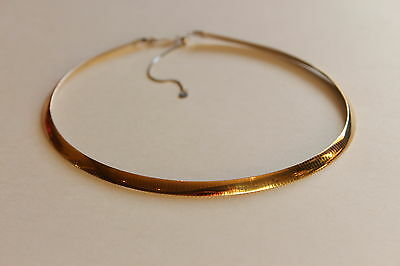 14k Yellow Gold & Sterling Silver Omega Chain 17 inches 18 grams 6 mm - NEW