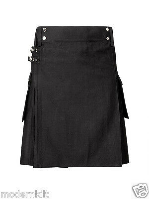 Scottish Mens black gothic punk cotton jeans kilt celtic denim utility kilts