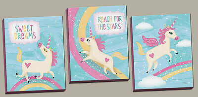Adorable Inspirational Unicorns and Rainbows; 3 8x10in Hand-Stretched Canvases.
