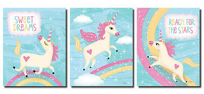 Adorable Inspirational Unicorns and Rainbows; Three 8x10in Poster Prints.
