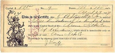 1907 Stock Entitlement Certificate, ARENA STK. CO., Providence, Rhode Island
