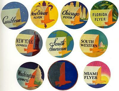 EASTERN AIRLINES - Collection of 14 Luggage / Baggage / Destination Labels, 1955