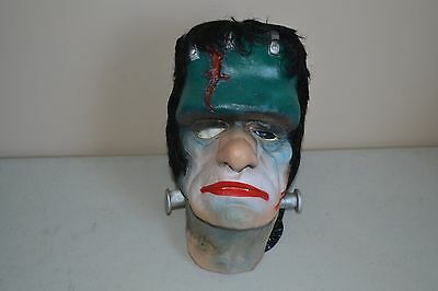 USED Vintage 1986 Halloween Creepy GLENN STRANGE FRANKENSTEIN VINYL MASK MONSTER