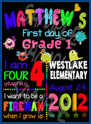 Printable Personalized First Day of Preschool Grade 1 Sign 1st Day of School