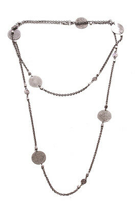 Zx181 Long /& Cute Metal Necklace Chic Silver Chrome Beads