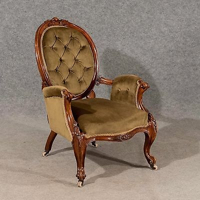 Antique Armchair Salon Easy Chair Quality Walnut Frame English Victorian c1880