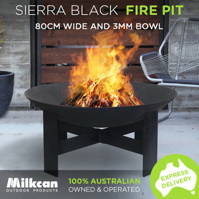 NEW Sierra 80cm Black Fire Pit 3.5mm Bowl Outdoor Fireplace Patio Heater Plant