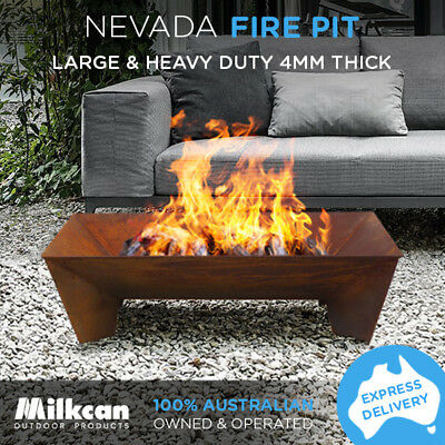 NEW Nevada Rust Fire Pit 4mm Bowl Outdoor Rectangle Fireplace Patio Heater Plant