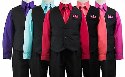 Boys Solid Black Vest Suit Set with Colored Dress Shirt, Tie, Size 2T-14 Wedding