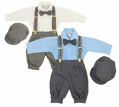 New Baby Toddler Boys Knickers Vintage Set Outfit Beige/Ivory Charcoal/Blue