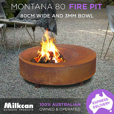 MODERN Montana RUST 80cm Fire Pit 4mm Bowl Outdoor Fireplace Patio Heater Plant