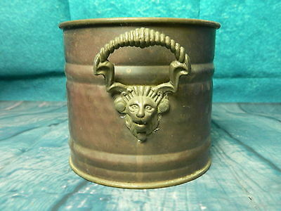 Vintage Copper Tub Planter Plant Pot Brass Face Handles Antique Metal Tin Rustic