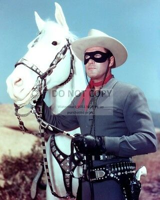 "Clayton Moore As ""The Lone Ranger"" With His Horse ""Silver"" - 8X10 Photo (Az232)"