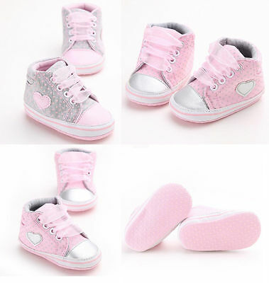 Newborn to 18 Months Baby Girls Kids Soft Sole Crib Shoes Infant Toddler Sneaker