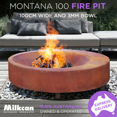 HUGE Heavy MODERN Montana 100cm Rust Fire Pit 3mm Bowl Outdoor Fireplace Patio