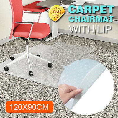 Chair Mat for Carpet Floors PVC 2mm Thick Rectangular with Lip Clear 120*90cm